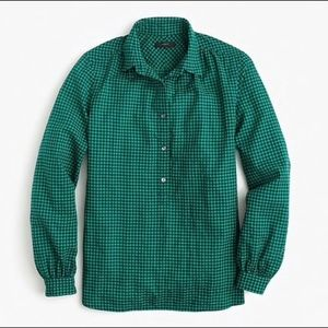 J.Crew Gathered Popover Shirt in Two-Tone Gingham